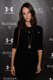 Kaya Scodelario paired a lace mini skirt with a crewneck sweater for her casual all-black look during the Next Generation Filmmaker Dinner Series.