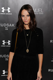 Kaya Scodelario sported an all-black ensemble at the Next Generation Filmmaker Dinner Series, consisting of a crewneck sweater and a mini skirt.