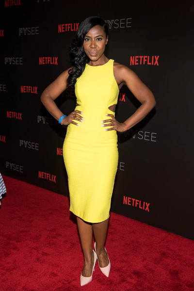 Nia Jervier Cutout Dress [dear white people,clothing,dress,cocktail dress,carpet,shoulder,red carpet,fashion model,premiere,yellow,fashion,arrivals,nia jervier,for your consideration,beverly hills,california,netflix,fyc,event,event]