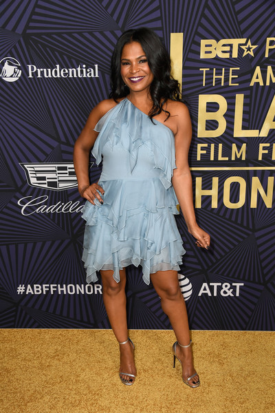 Nia Long Evening Sandals [clothing,dress,fashion,shoulder,cocktail dress,premiere,event,muscle,performance,talent show,bet presents the american black film festival honors - arrivals,beverly hills,california,nia long]