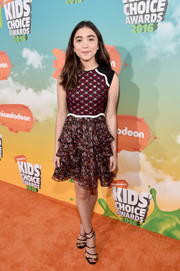 Rowan Blanchard rounded out her look with chic strappy heels.