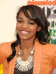 The cheery China Anne McClain had her soft curls side-parted at the Nickelodeon Annual Kids' Choice Awards.