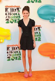 Ciara Bravo attended the Kids' Choice Awards wearing a short pin-dot dress.