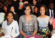 Sasha Obama was a budding style star in her white motorcycle jacket at the Kids' Choice Awards.