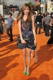Kelsey Chow was artsy in this space print cocktail dress at the Kids' Choice Awards.