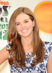 Zoey Deutch attended the 2012 Kids' Choice Awards wearing a pair of sterling silver pave diamond disc earrings.
