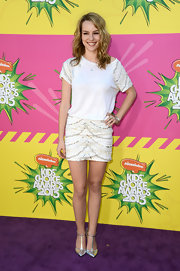Bridgit Mendler chose this beaded mini for her glamorous but casual look on the purple carpet of the KCAs.
