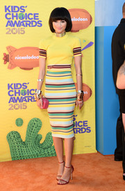 Zendaya Coleman looked perfectly put together in her DKNY striped pencil skirt and knit top combo.