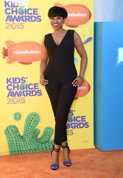 Jennifer Hudson chose a simple yet cool Tamara Mellon jumpsuit for her Kids' Choice Awards look.