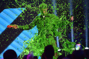 Singer Nick Jonas get slimed while accepting award for Favorite Male Singer onstage during Nickelodeon's 28th Annual Kids' Choice Awards held at The Forum on March 28, 2015 in Inglewood, California.