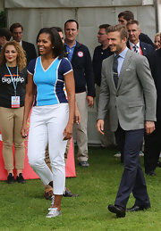 Michelle Obama showed off her sporty style at the Let's Move London event with a T-shirt in two shades of blue.
