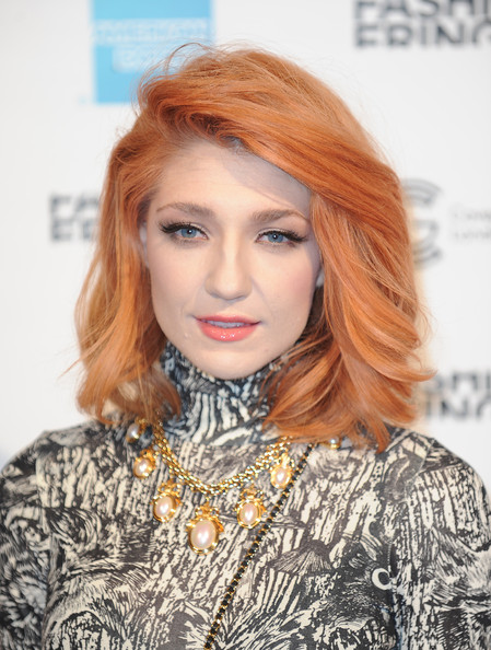 Nicola Roberts Medium Layered Cut [hair,face,hairstyle,eyebrow,lip,hair coloring,blond,red hair,beauty,chin,celebrities,girls aloud,nicola roberts,lfw spring,london,england,front row: day two,fashion show,fashion fringe,london fashion week]