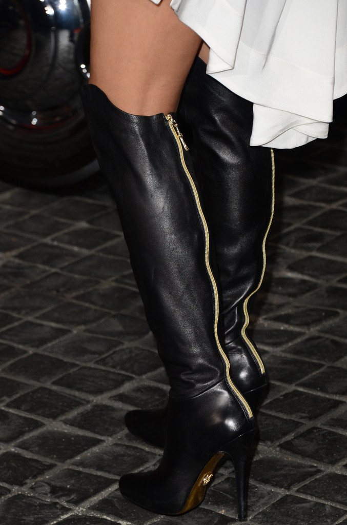 Nicole Scherzinger Knee High Boots - Boots Lookbook - StyleBistro