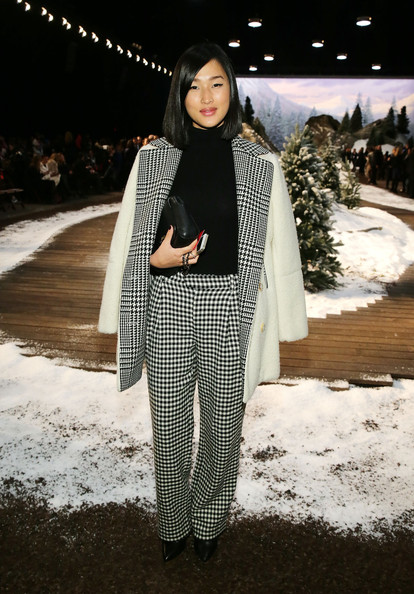 Nicole Warne Print Pants [white,clothing,street fashion,fashion,black-and-white,outerwear,fashion model,design,winter,pattern,tommy hilfiger presents fall 2014 womens collection - front row,new york,united states,nicole warne]