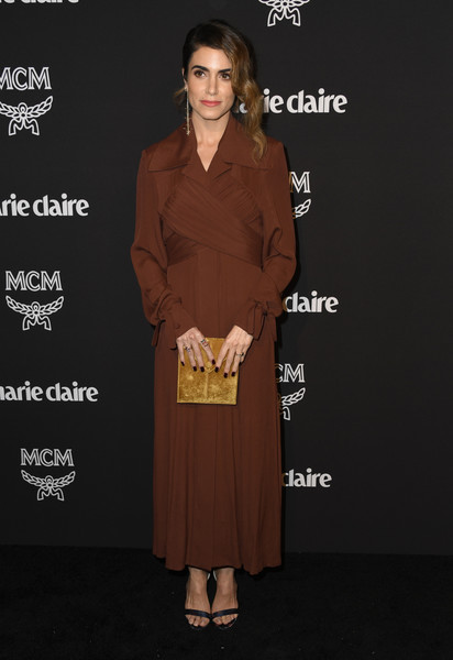 Nikki Reed Maxi Dress [clothing,dress,brown,fashion,carpet,premiere,flooring,formal wear,red carpet,fashion design,marie claire change makers celebration,nikki reed,hills penthouse,west hollywood,california,arrivals]