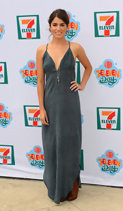 Nikki Reed looked boho cool in this cutout maxi dress, which she sported at '7-Eleven's 86th Birthday Party' in Malibu.