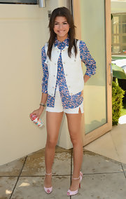 Zendaya Coleman showed how to rock a crisp white vest by pairing it over a colorful button down.