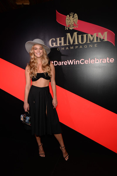 Nina Agdal Bra [clothing,fashion,dress,premiere,little black dress,fashion model,event,logo,carpet,flooring,usain bolt toast,usain bolt,nina agdal,g.h.,toast,new york city,mumm,kentucky derby]