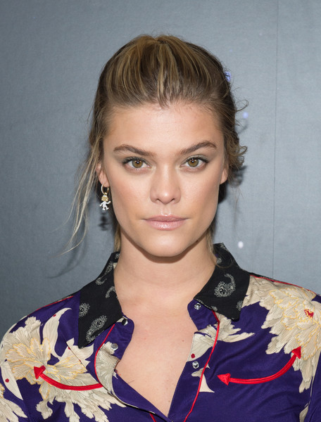 Nina Agdal French Braid [hair,face,hairstyle,eyebrow,lip,beauty,blond,chin,forehead,fashion,zadig,voltaire,nina agdal,voltaire - backstage,new york city,cedar lake studios,new york fashion week,fashion show]
