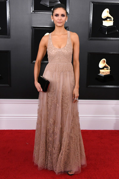 Nina Dobrev Embroidered Dress [fashion model,gown,red carpet,dress,clothing,carpet,flooring,shoulder,formal wear,fashion,arrivals,nina dobrev,grammy awards,staples center,los angeles,california,annual grammy awards]