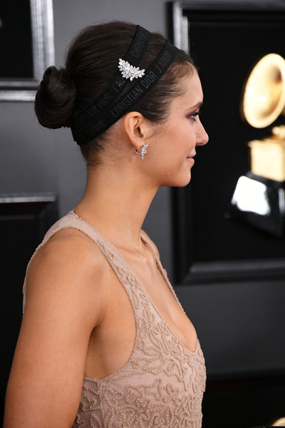 Nina Dobrev Headband [hair,hairstyle,bun,chignon,beauty,chin,dress,shoulder,fashion,neck,arrivals,nina dobrev,grammy awards,staples center,los angeles,california,annual grammy awards]