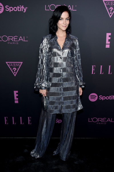 Leigh Lezark matched her top with a pair of silver palazzo pants, also by Christian Siriano.