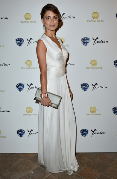 Nina Senicar Evening Dress [clothing,white,dress,shoulder,fashion,hairstyle,red carpet,carpet,cocktail dress,fashion design,taormina filmfest,lancia cafe,taormina,italy,celebrities,nina senicar]