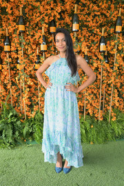 Rosario Dawson looked summery in an aqua-blue halter dress at the Veuve Clicquot Polo Classic Los Angeles.