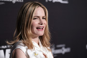 Jennifer Jason Leigh styled her hair with flippy ends for a retro feel at the Women in Film pre-Oscar party.