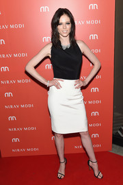 Coco Rocha went for simple sophistication in a sleeveless black-and-white dress during the Nirav Modi U.S. boutique grand opening.