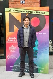 Gael Garcia Bernal kept the chill out with a blue puffa jacket at the 'No' screening in Madrid.