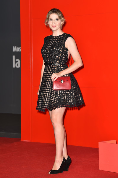 Carly Steel looked darling in a harlequin-patterned LBD at the Venice Film Festival premiere of 'Nocturnal Animals.'