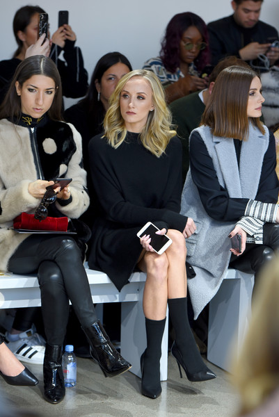 More Pics of Nastia Liukin Sweater Dress (1 of 9) - Dresses & Skirts Lookbook - StyleBistro [shows,fashion,footwear,event,beauty,thigh,blond,fashion show,leg,leggings,street fashion,noor - front row,noon,noor,r,olivia palermo,nastia liukin,the shows at gallery ii,center,new york fashion week]