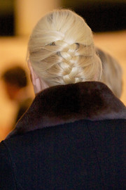 Princess Mette-Marit styled her hair into a French braid for the 75th anniversary of the Norwegian People's Aid.