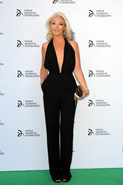 Tamara Beckwith took the plunge with a deep V-neck, halter jumpsuit.