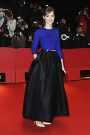 Louise Bourgoin looked elegant in a long black skirt on the red carpet for 'The Nun.'