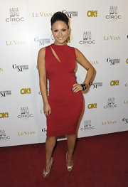 Pia Toscano wore this slashed red cocktail dress to a pre-Oscar party.