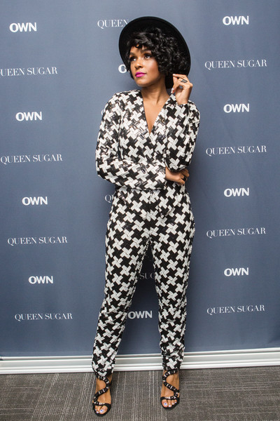 Janelle Monae's Giuseppe Zanotti beaded sandals worked perfectly with her monochrome suit.