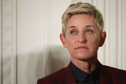 Ellen DeGeneres attended the Presidential Medal of Freedom ceremony wearing her hair in a layered razor cut.