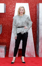 Cate Blanchett chose a pair of tapered black trousers to finish off her look.