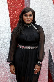 Mindy Kaling complemented her bejeweled dress with a diamond ring for the UK premiere of 'Ocean's 8.'
