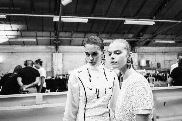 More Pics of Kaia Gerber Ponytail (1 of 22) - Kaia Gerber Lookbook - StyleBistro [image,photograph,white,black-and-white,monochrome,snapshot,monochrome photography,photography,uniform,recreation,chef,off-white,models,part,paris,france,backstage - paris fashion week womenswear spring,show]
