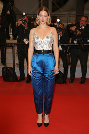 Lea Seydoux looked chic in an embellished ivory top by Louis Vuitton at the 2019 Cannes Film Festival screening of 'Oh Mercy!'