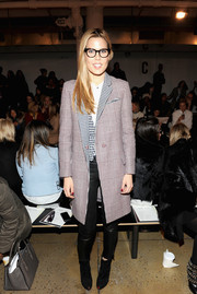 Mary Alice Stephenson attended the Ohne Titel fashion show looking classic in a Glen plaid coat.