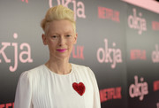 Tilda Swinton looked cool, as always, wearing this fauxhawk at the New York premiere of 'Okja.'