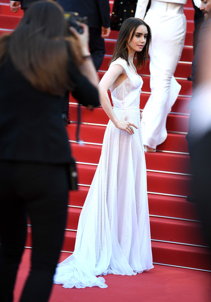More Pics of Lily Collins Off-the-Shoulder Dress (3 of 70) - Dresses & Skirts Lookbook - StyleBistro [gown,dress,clothing,red,red carpet,carpet,pink,bridal clothing,flooring,fashion,red carpet arrivals,lily collins,okja,screening,cannes,france,cannes film festival,palais des festivals]