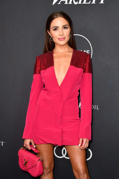 Olivia Culpo Quilted Purse [clothing,pink,suit,fashion model,fashion,outerwear,formal wear,dress,magenta,cocktail dress,arrivals,olivia culpo,power of women,variety,los angeles,beverly hills,california,beverly wilshire four seasons hotel]