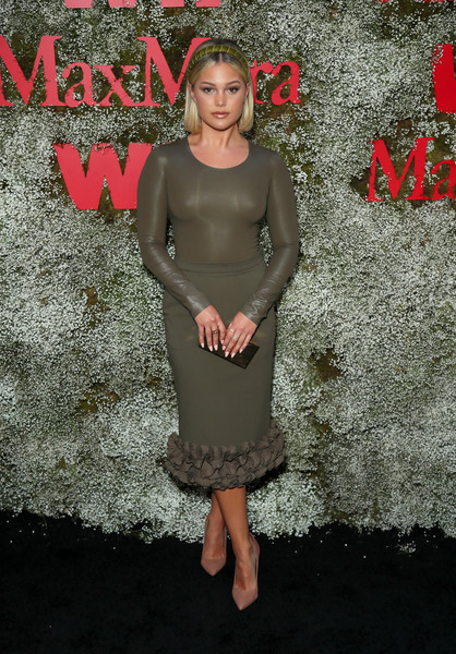 Olivia Holt Pencil Skirt [instyle max mara women in film celebration,max mara women in film celebration,olivia holt,clothing,dress,cocktail dress,pink,fashion,footwear,pattern,shoe,chateau marmont,los angeles,california,instyle]