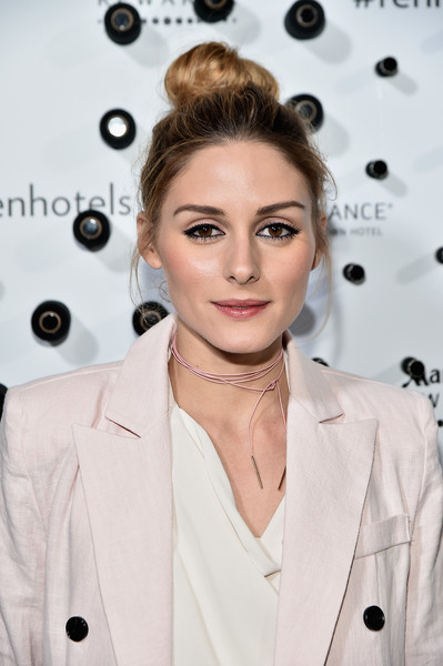 Olivia Palermo Leather Choker Necklace [renaissance new york,midtown hotel launch party,hair,hairstyle,beauty,blond,trench coat,fashion,eye,lip,outerwear,fashion design,midtown hotel,new york city,olivia palmero]
