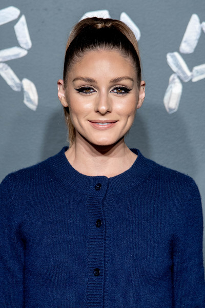 Olivia Palermo Ponytail [hair,hairstyle,eyebrow,fashion,electric blue,ear,premiere,lip,neck,long hair,arrivals,olivia palermo,versace fall,american stock exchange building,new york city,lower manhattan,versace,fashion show]